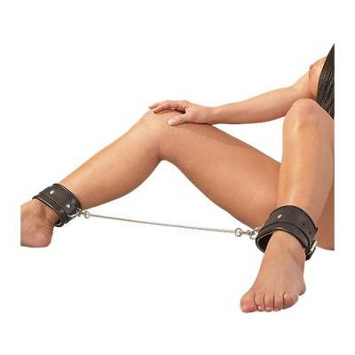 Leather BDSM Ankle Cuffs with Chain