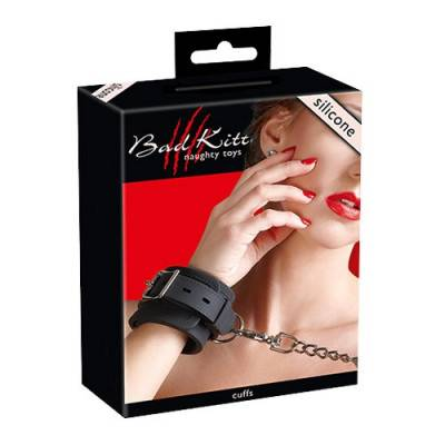 Bad Kitty - Black Silicone Wrist Cuffs (BK-6)