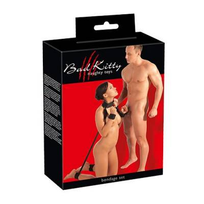Bad Kitty Black Velcro Bondage Set