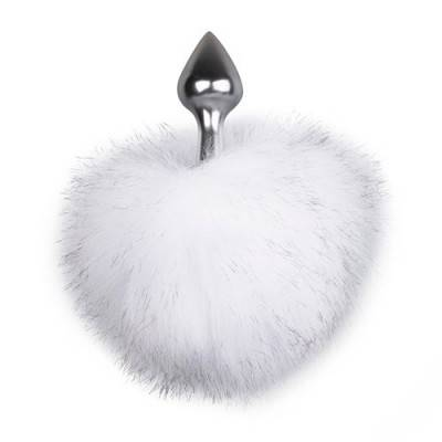 Bunny Tail Butt Plug - Silver-White