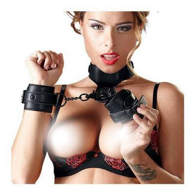 Bad Kitty - Black Collar & Cuffs Set (BK-5)